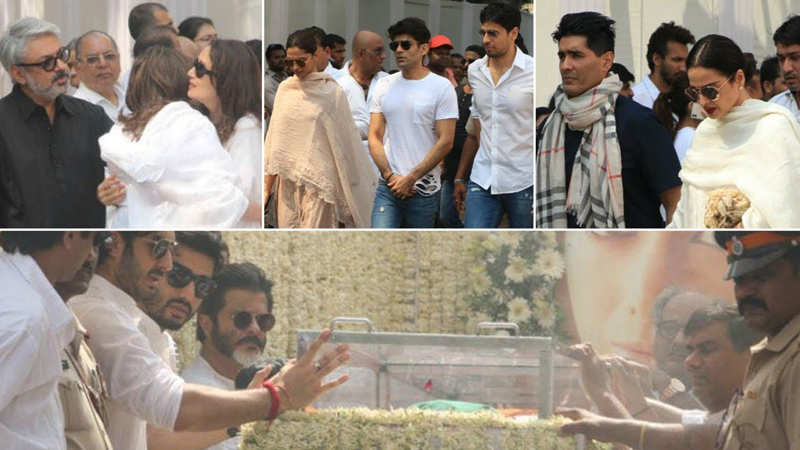 Bollywood pays their last respects to Sridevi