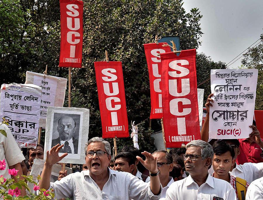 Left parties protest against Lenin statue demolition