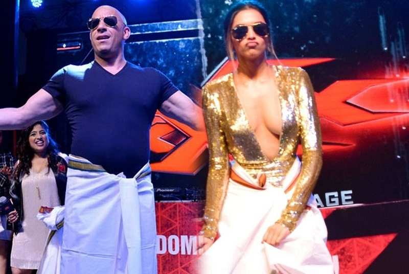 During Promotions of xXx Movie Vin Diesel and Deepika Padukone do the lungi dance