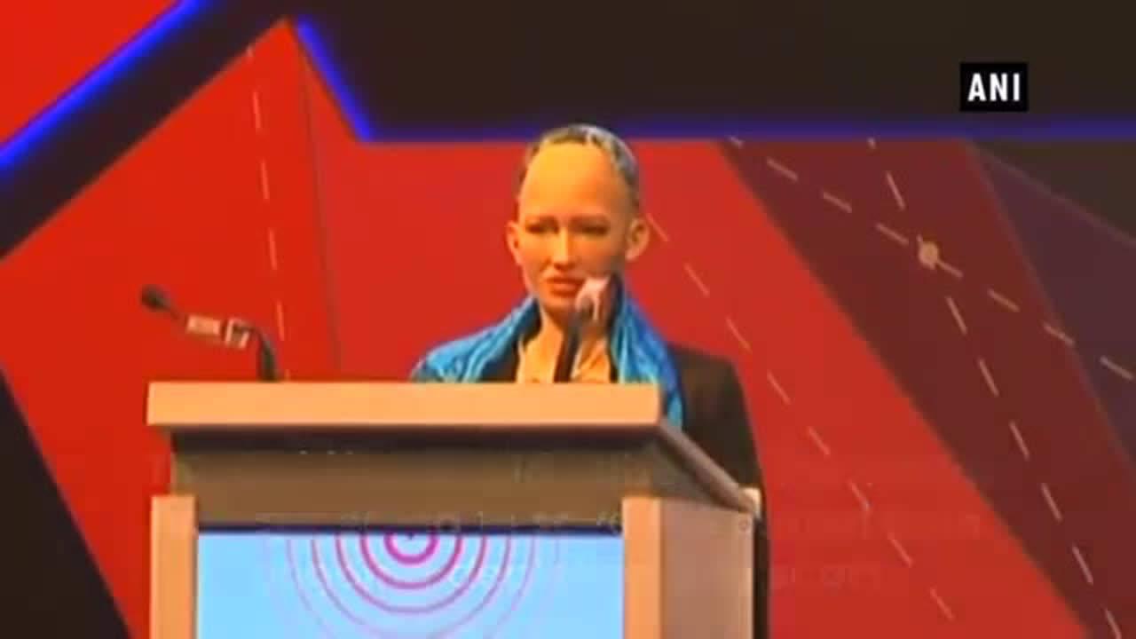 Humanoid Robo Sophia calls to save the planet