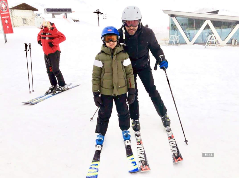 Karisma Kapoor & ex-hubby Sunjay Kapur enjoy a snowy vacay with kids