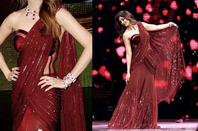 Shilpa Shetty Sexy Red Sari