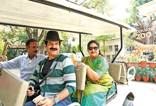 JD and Vandana with Range Forest Officer Piyush Srivastava taking a round of the Lucknow Zoo (BCCL/ Aditya Yadav)