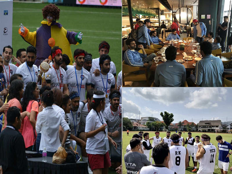 Ranbir Kapoor, Abhishek Bachchan, Arjun Kapoor and team come out victorious in charity football match in Singapore - Ranbir Kapoor and his Bollywood pals    The Times of India