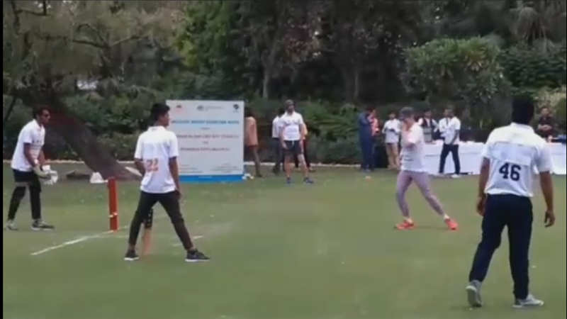 Indian blind cricket team take on blindfolded diplomats for a special match in Delhi