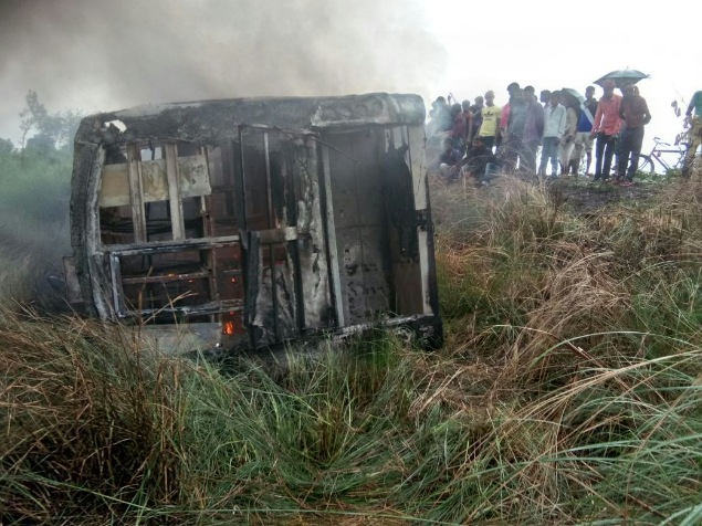 Motihari bus accident: 27 charred to death as bus catches fire after