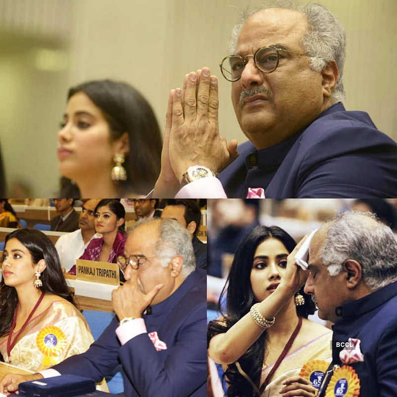 Janhvi consoles teary-eyed Boney Kapoor as Sridevi gets honoured at National Film Awards, see heartbreaking pics
