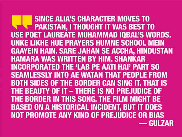 Raazi: Gulzar: I'd like 'Raazi's' 'Ae Watan' to become the song of