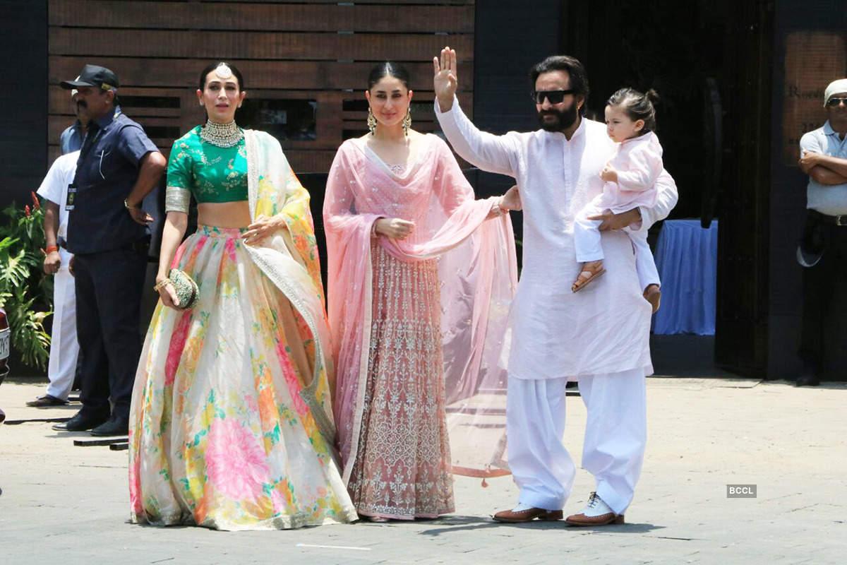 Karisma Kapoor, Kareena, Saif and Taimur Ali Khan.