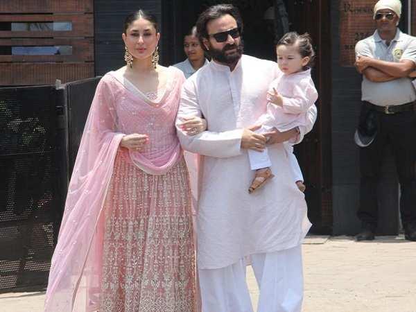 Kareena, Saif and Taimur at Sonam Kapoor Wedding