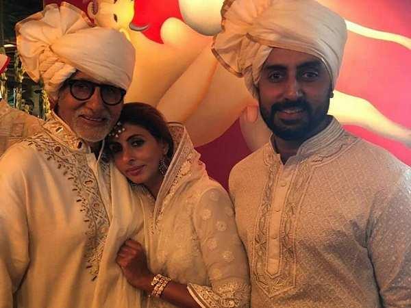 Amitabh, Abhishek and Shweta at Sonam Kapoor Wedding