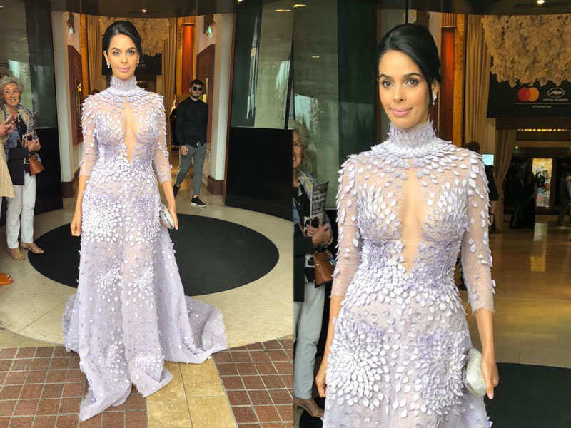 Mallika Sherawat wins over Cannes red carpet in a lilac swan gown
