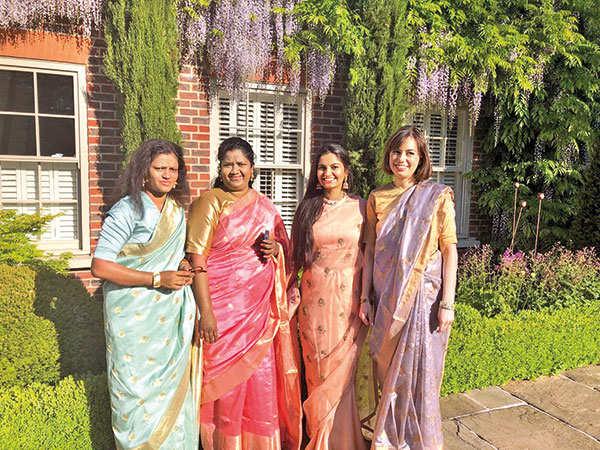 Suhani with members of the Myna Mahila Foundation at the Royal Wedding