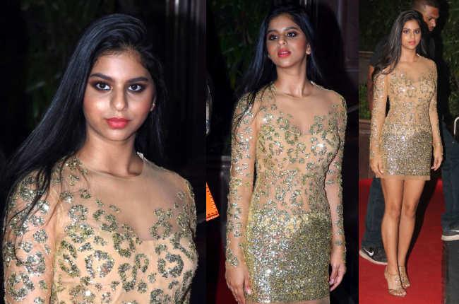 Suhana Khan sexy gold dress