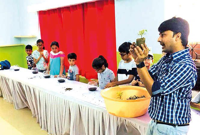 Shashwat Pathak recently conducted a Bonsai workshop with kids (BCCL)