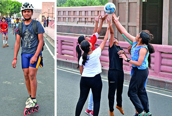 (L) Dheemant Mishra (R) A group of young girls playing volleyball at the Happy Streets (BCCL/ Farhan Ahmad Siddiqui and Vishnu Jaiswal)