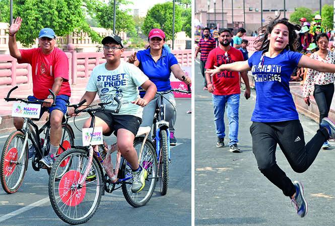 (L) Rajes, Aarav and Nupur enjoying  a cycle ride (R) Ritika Gupta (BCCL/ Farhan Ahmad Siddiqui and Vishnu Jaiswal)