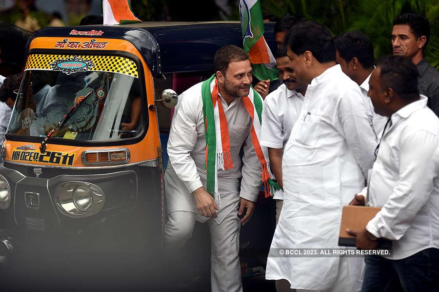 1000 auto-rickshaws welcome Rahul Gandhi in Mumbai