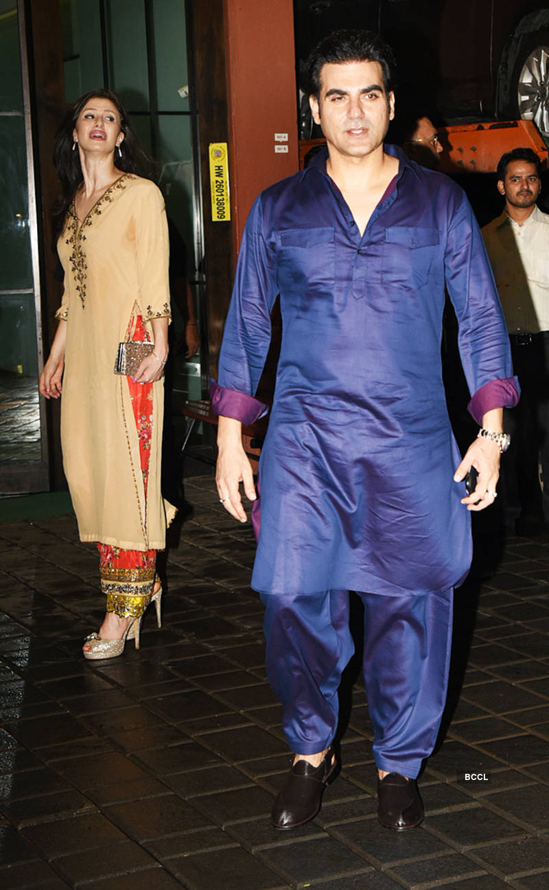 Arbaaz Khan arrives with a mystery girl at Salman Khan's starry Eid party, see pictures