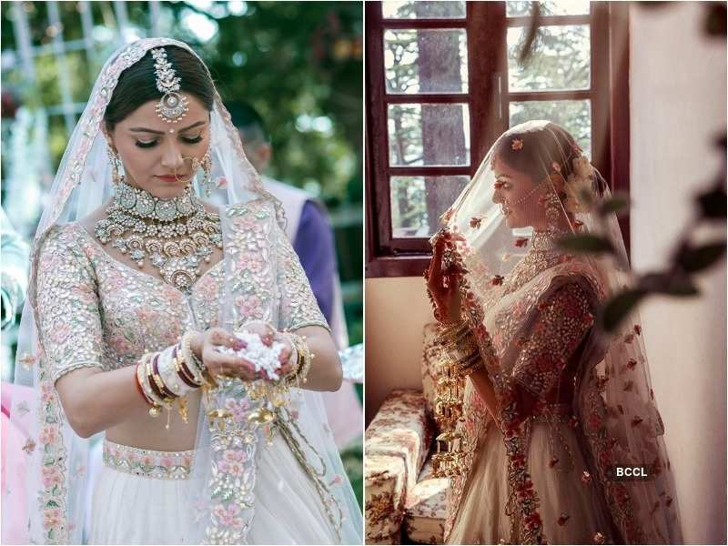Rubina Dilaik opts for a gorgeous white lehenga; ditches the traditional red on her D-day - TV Actresses who looked like the perfect bride on their wedding day  | The Times of India