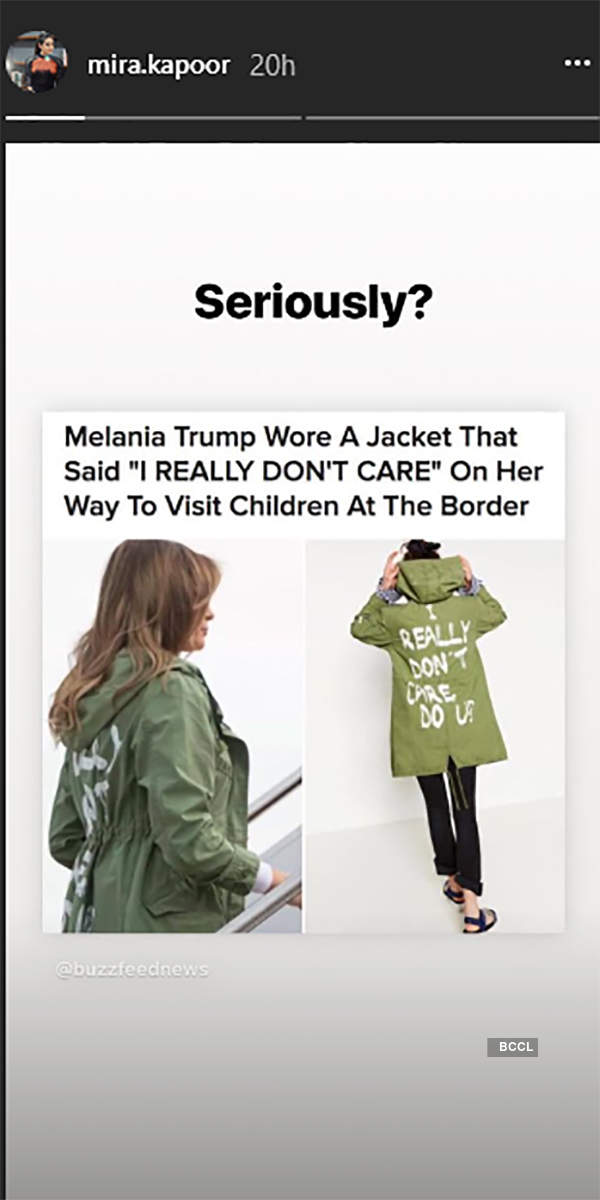 TRENDING: Shahid Kapoor's wife Mira blasts Melania Trump's controversial jacket on her Instagram story!