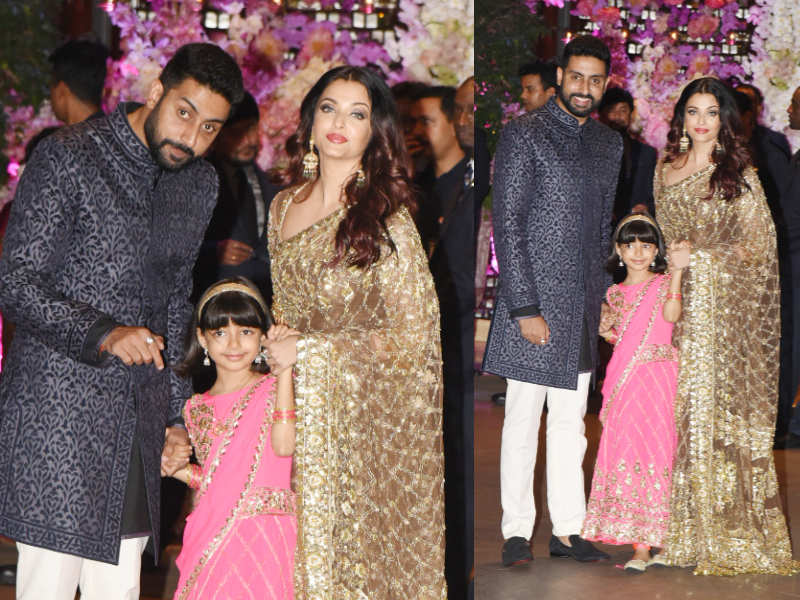 Abhishek Bachchan, Aishwarya Rai and Aaradhya Bachchan at Akash-Shloka's engagement