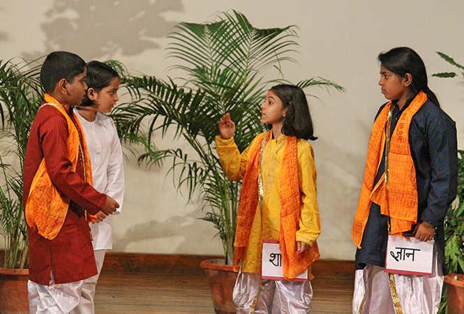 A scene from the play Budhhi Vidya Se Sresht Hai (BCCL)