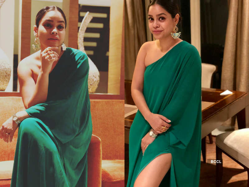 Sumona Chakravarty looks gorgeous in a green dress with a thigh high