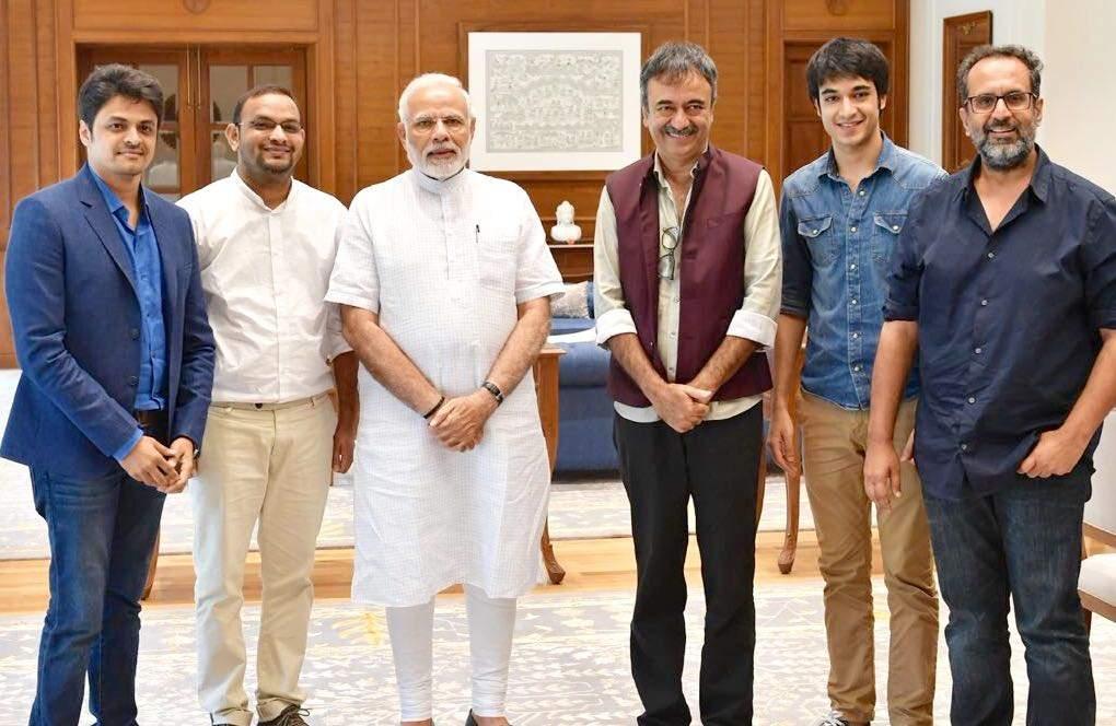 Maulik kumar ,Mahaveer Jain ,PM Mr Narendra Modi,Rajkumar Hirani,Vir Hirani ( Raju hirani ji's son ) & Aanand L Rai -2018-07-09 at 4.56.13 PM.
