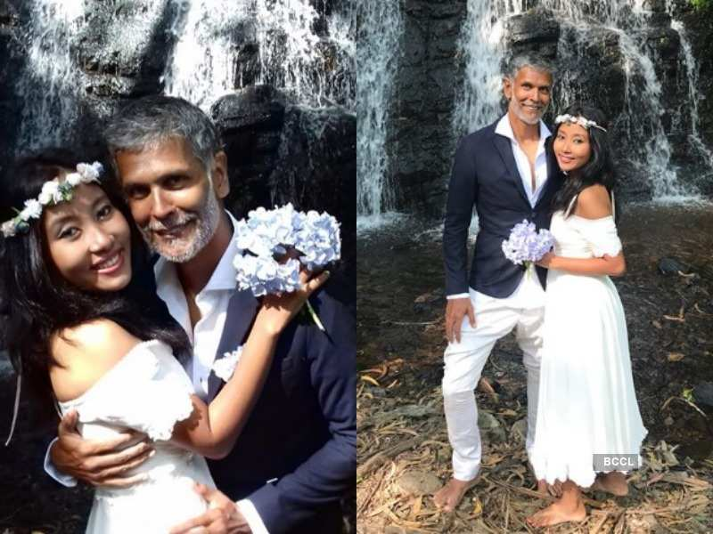 Milind Soman and wife Ankita Konwar stun at their 'bare feet' wedding in the woods - We bet you have not seen these wedding pictures of TV celebs  | The Times of India