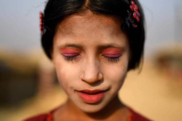 In pictures: Wearing tradition, Thanaka in a Rohingya camp