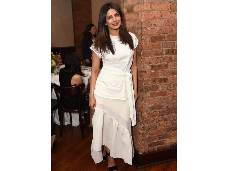 087c8353ee Spotted at the jury welcome lunch for the Tribeca Film Festival in New York  City, Priyanka was seen in a layered frock that featured a ruffled skirt  and two ...