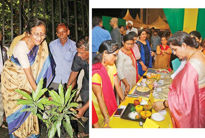 (L) Rita Bahuguna Joshi planted a mango sapling (R) Pankaj Bhadouria judged the cooking competiiton in which Deepti Jaitly was the winner (BCCL)