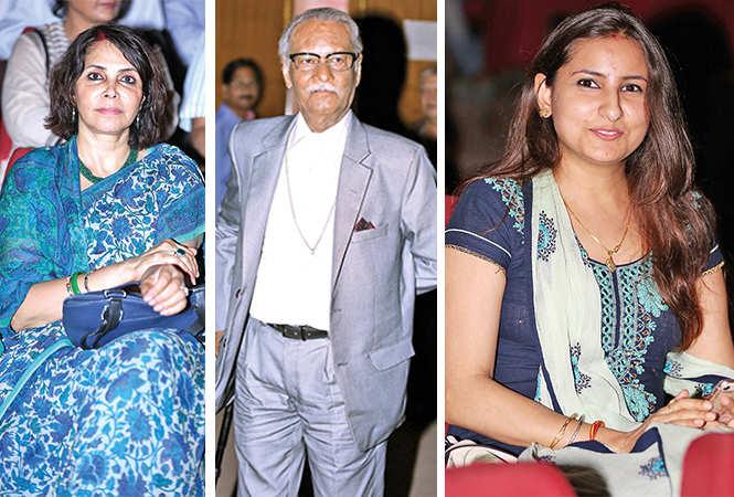 (L) Kanak Rekha Chauhan (C) Prof Raj Bisaria (R) Poonam Soni (BCCL/ Aditya Yadav)