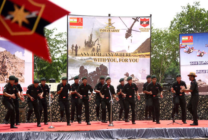 Soldiers entertained with cultural performances too