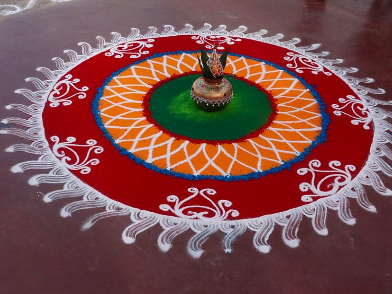 Happy Krishna Janmashtami Images of Rangoli Design