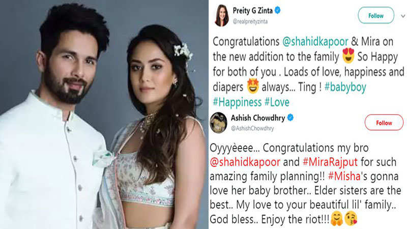 Celebs wish Shahid Kapoor and Mira Rajput Kapoor on  their second child
