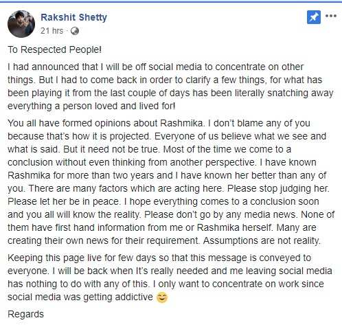 Rakshith Shetty comes back on social media to clarify things related