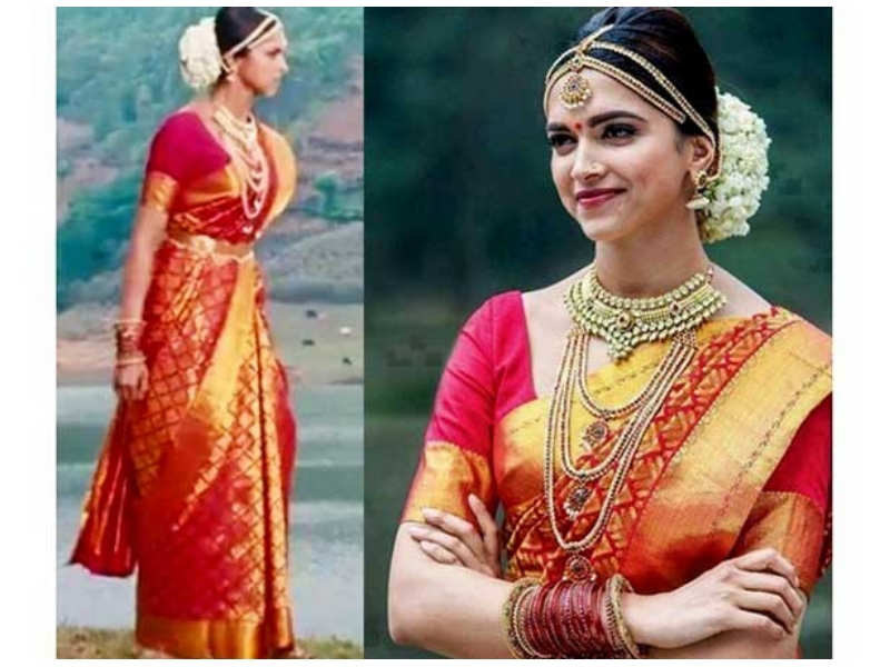 b0d934ab4 You can pair your saree with some traditional jewellery and keep your  hairstyle simple like Deepika Padukone.
