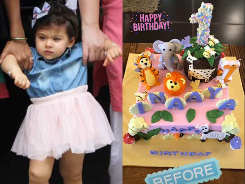 Jungle theme special cake for baby Inaaya Naumi Kemmu on her first birthday