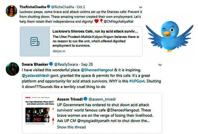 Celebs who tweeted in support of the cafe and the women running it (BCCL)