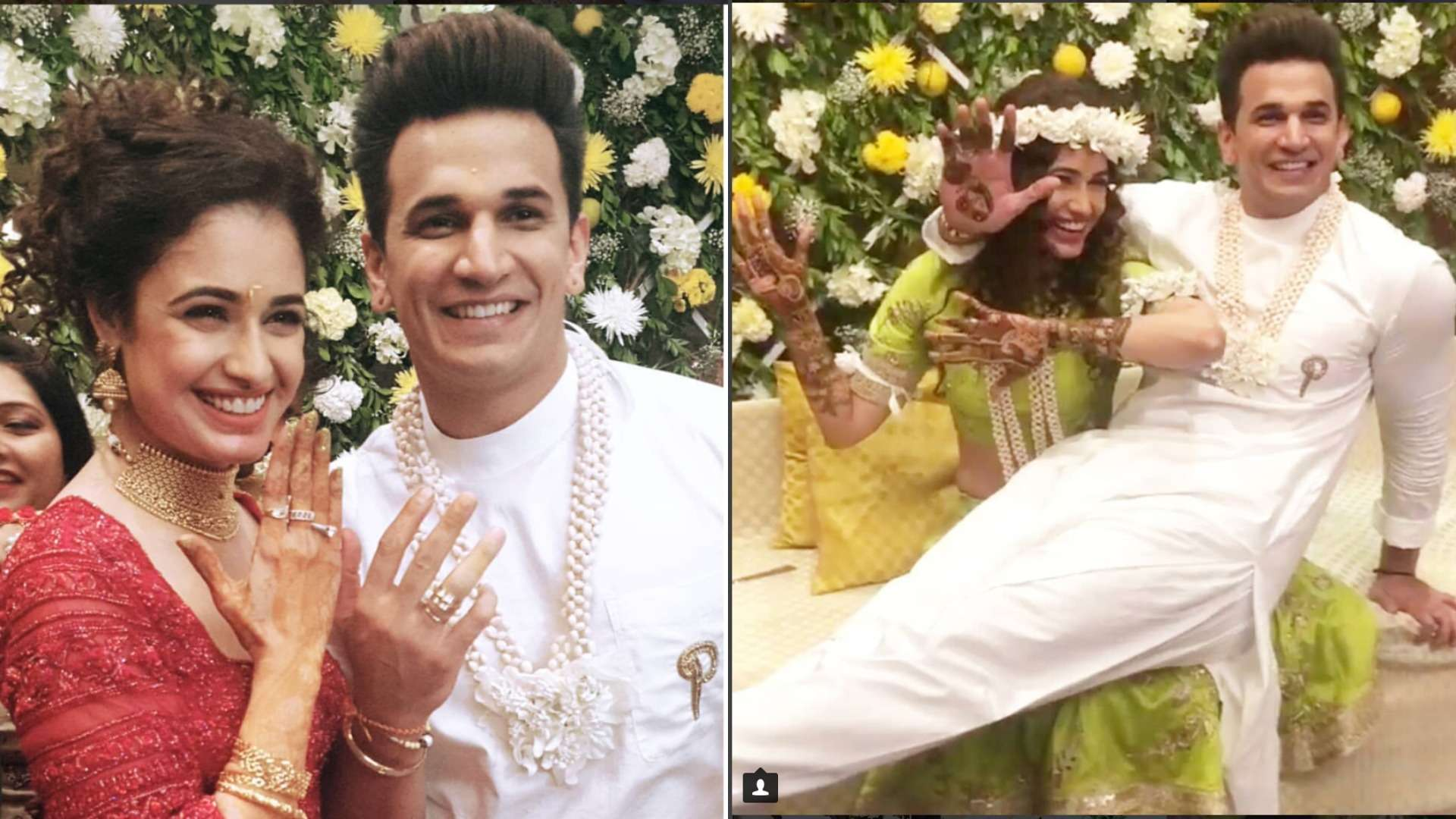Prince Narula and Yuvika Chaudhary look madly-in-love at their pre-wedding ceremonies