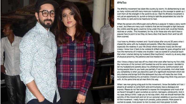 Ayushmann Khurrana's wife Tahira shares her #MeToo story, says relatives are the real creeps