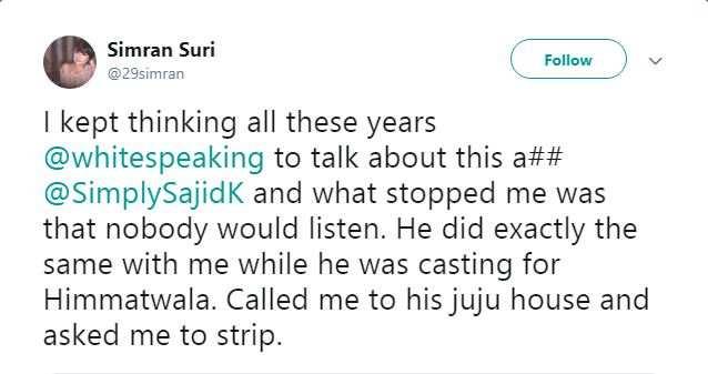 Me Too movement: Simran Suri now accuses Sajid Khan of