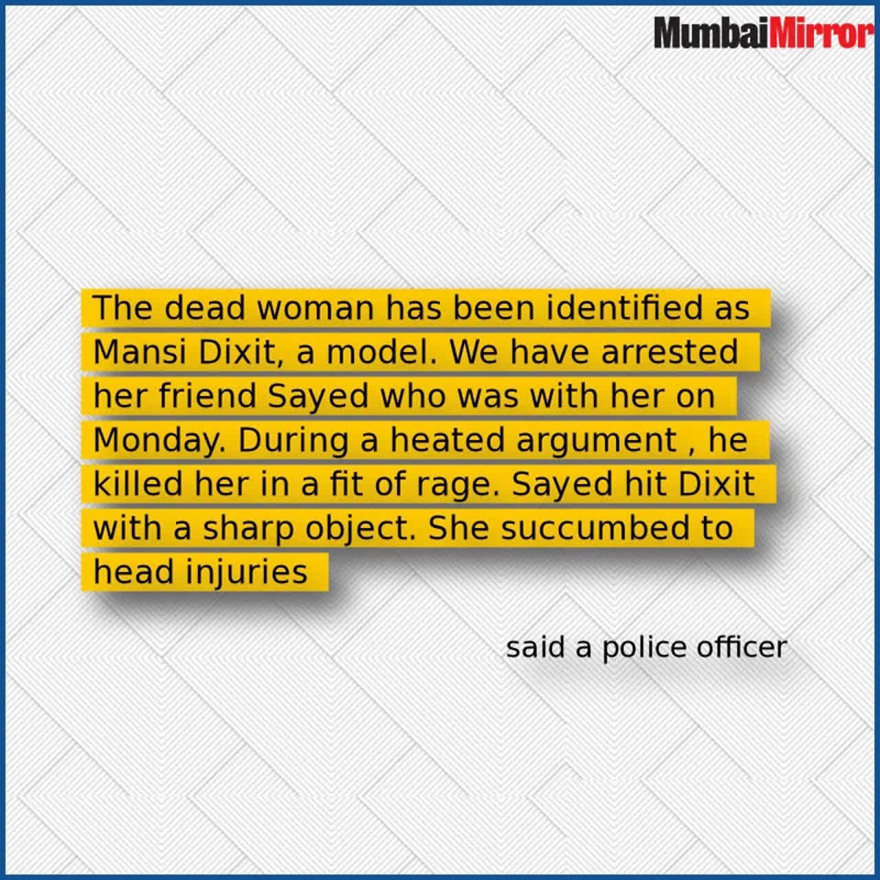 Mumbai Model Murder 20 Year Old Arrested For Killing Mansi Dixit Stuffing