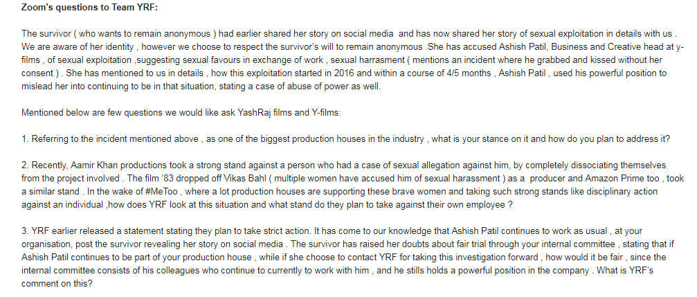 Zoom questions to YRF