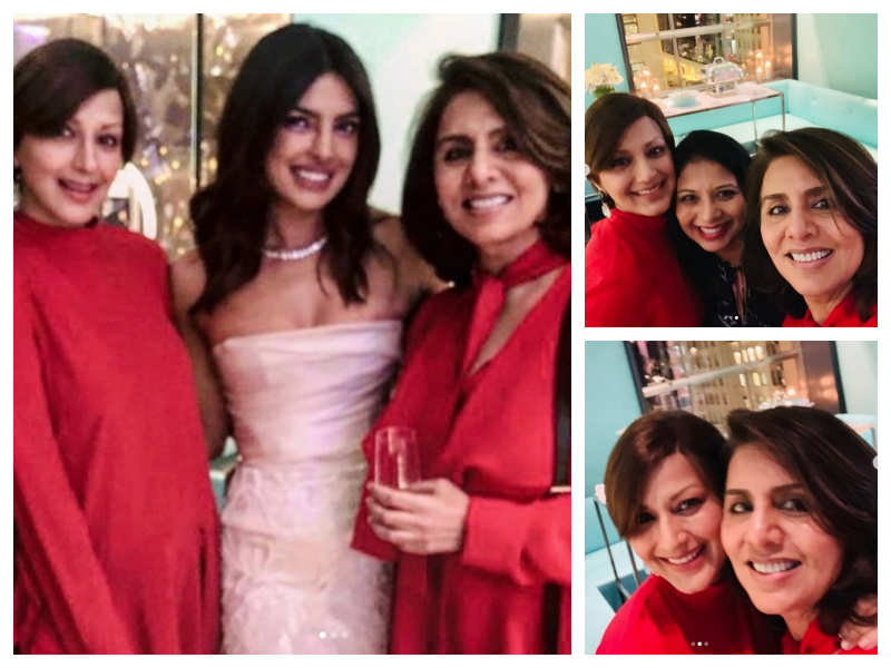 Sonali Bendre And Neetu Kapoor Twin In Red At Priyanka Chopra's Bridal Shower