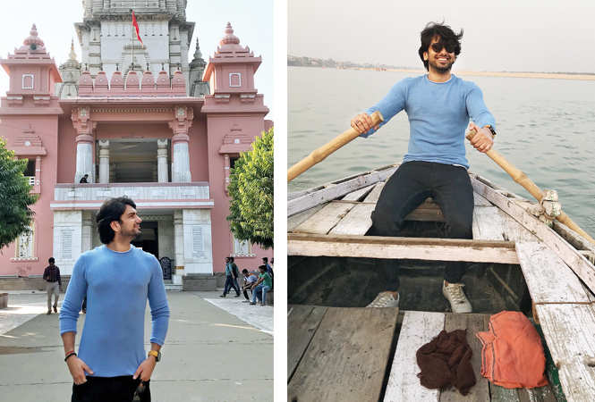 (L) Rahul at the Kashi Vishwanath temple in BHU (R) He went for a boat ride during his stay in Varanasi