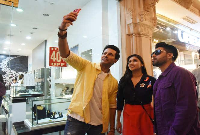 It's selfie time: Rajniesh, Mannara taking a selfie