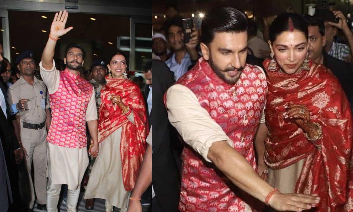 Newlywed Deepika Padukone, Ranveer Singh return to Mumbai, receive rousing welcome at airport